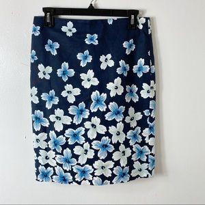 Ann Taylor Navy Blue Floral Straight Pencil Skirt